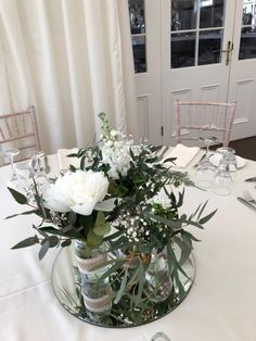 Centrepiece Ideas, Table Centerpieces, Table Decorations, Jam Jar Wedding, Wedding Reception Tables, Floral, Flowers, House, Furniture