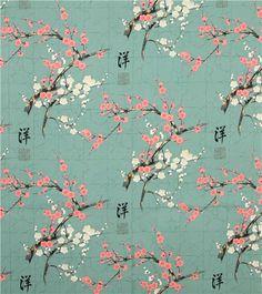 Tissu asiatique « Golden Garden » avec des fleurs de cerisiers japonais et des décorations dorées