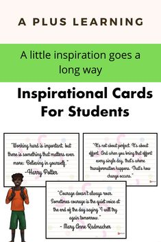 Inspirational Cards For Students School Resources, Classroom Resources, Teacher Notes, Teacher Pay Teachers, Classroom Organization, Classroom Management, School Stuff, Back To School, Teaching Posts