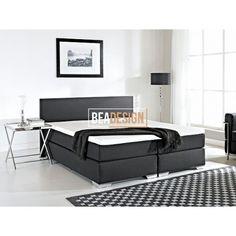 CARTAYA - Łóżko kontynentalne 180x200 cm - Łóżko tapicerowane - czarne