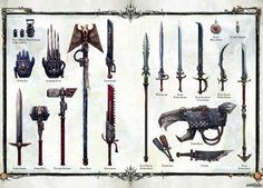 Assorted Warhammer 40k weaponry.