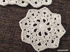 コースターの編み図第2段です。今回は八角形になるように編んでみました。ちょっと雪の結晶風をイメージして、角ばった感じになるように編んでます^^普段、コースターはわから編んで円にするか、平編みで四角が多いので、こんな風に八