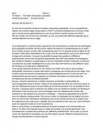 Projet De Stage Educateur Specialise 1ere Annee Rapport De Stage Tifenn Malige Aide Medico Psychologique Livret D Accueil Stage