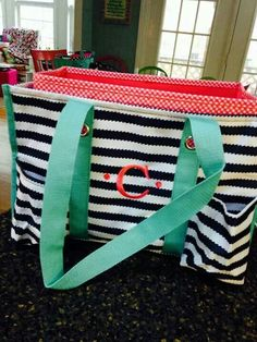 Navy wave with coral Organizing Utility Tote with Fold N File Thirty-One http://www.mythirtyone.com/jaynac/ jaynarie@yahoo.com