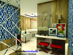 Arquitetura de Interiores para ambientes integrados planejados de hall de entrada, sala de estar e jantar e cozinha de um apartamento pequeno. Foram utilizados mistura de MDF com tons amadeirados, …