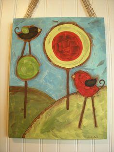 Primitive Folk Art BirdsOriginal PaintingRustic by theivylane, $36.00