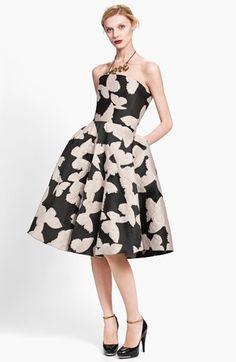 Butterfly Jacquard Strapless Dress