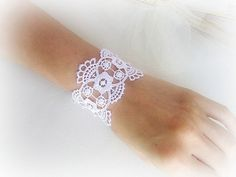 Embroidered white lace bracelet weddingbridal by MalinaCapricciosa, $18.50