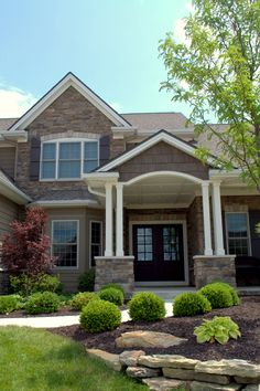 Beautiful stone house Copperton Laytite and Cut Cobble J&N Stone Exterior House Colors Combinations, Clear Lake, Front Entrances, Stone Veneer, Front Yard Landscaping, Front Porch, Retirement, Coupons, Sweet Home