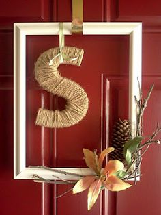 Love the idea of using a picture frame to make a door wreath! You could come up with so many ideas!