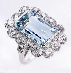GIA 9.17ct Antique Vintage Art Deco Aquamarine Diamond Cluster Engagement Platinum Ring