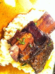 Braised Short Ribs in Red Wine with Risotto - by Randy Elrod