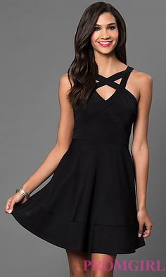 Little Black Emerald Sundae Dress with Cut Outs at PromGirl.com