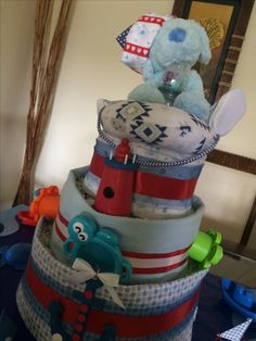 A Nautical diaper cake :):)