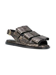 2be2bc32bc91 Marni Fusbett Distressed Metallic Sandals - Farfetch