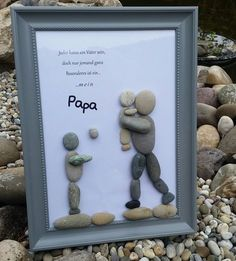 """Shop Kattegorie: Vatertagsgeschenk Kieselsteinbild **""""dreamteam Shop category: Father's Day gift pebble picture ** """"dream team ** By popular request I made a Diy Gifts For Dad, Diy Father's Day Gifts, Father's Day Diy, Kids Crafts, Diy And Crafts, Easy Crafts, Fathers Day Presents, Fathers Day Crafts, Pebble Painting"""