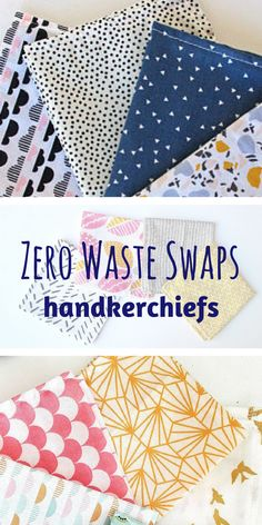 Simple Swaps for Zero Waste Beginners. Trade disposable tissues for reusable handkerchiefs! Choose your favorite color or a fun pattern. #zerowaste #sustainability #zerowastewins #ad