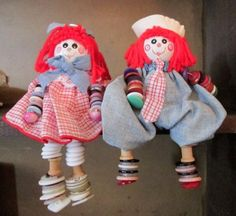 Raggedy-Ann-And-Andy-Shelf-Sitters-Button-Arms-And-Legs-Dangle-Arms-And-Legs