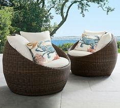Shop Pottery Barn for wicker outdoor furniture. Browse our Torrey Outdoor Collection and find all-weather wicker chairs, sofas and dining tables, perfect for any outdoor space. Wicker Patio Furniture Sets, Lounge Furniture, Patio Chairs, Outdoor Chairs, Furniture Layout, Room Chairs, Vintage Furniture, Eames Chairs, Outdoor Lounge