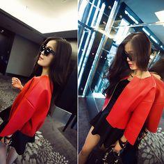 Fashion Solid Color 3/4 Sleeve PU Leather Coat