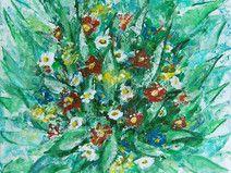 Blumen Malerei, 15 x 16,8 cm, Acryl