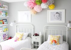 I adore white/grey neutrals with bright pops of color and those photos are SO sweet.