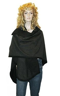 Cashmere Pashmina Group- Cape Woolen Reversible Ruana Knitted Poncho Shawl Cardigans Sweater Coat (Black/Charcoal) ** Click image to review more details.