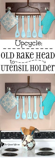 easy home decor Upcycled Old Rake to Utensil Holder - a simple . - easy home decor Upcycled Old Rake to Utensil Holder – a simple DIY craft for home - Diy Crafts For Home Decor, Easy Home Decor, Easy Diy Crafts, Kitchen Utensil Holder, Kitchen Utensils, Utensil Organizer, Kitchen Hooks, Utensil Storage, Diy Simple