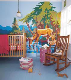 This was actually photographed in Tereasa's daughter's nursery. Tereasa created the paint-by-number mural by projecting a vintage art piece onto the wall and hand painting it