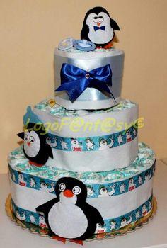 Penguin diaper cake - torta di pannolini pinguini