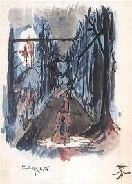 """""""Eeriness"""". In 1914 Tolkien started to draw the visionary illustrations in his Book of Ishness."""