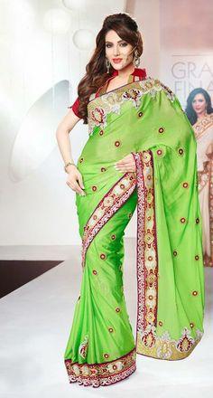 USD 173 Green Chiffon Party Wear Saree  30489