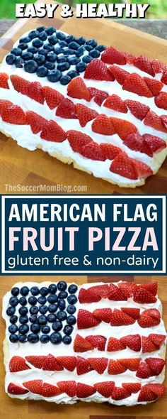 Only 4 ingredients! This patriotic American Flag Fruit Pizza is perfect for a of July or Memorial Day party.it's gluten free & dairy free too)(Healthy Low Carb Dairy Free) Fruit Pizza Cups, Fruit Pizza Frosting, Mini Fruit Pizzas, 4th Of July Desserts, Fourth Of July Food, July 4th, Patriotic Desserts, The Menu, Brunch