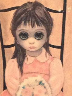 Margaret Keane lithograph Waiting For Grandmother Lithograph, Copyright 1962 Framed and Signed from Picsity.com