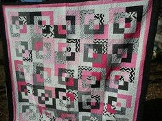 NEW Modern Black White and Pink Handmade Quilt
