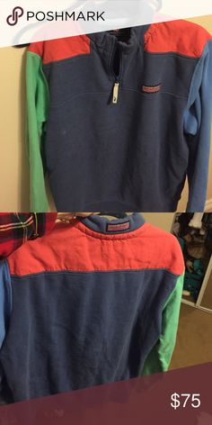Rare color-blocked Vineyard Vines shep shirt I love this to death I just never wear it. It's hard to part with, so make me an offer! Everyone wanted this when it first came out. :) no flaws! Size is a men's medium, so it fits a female oversized. Vineyard Vines Tops Sweatshirts & Hoodies