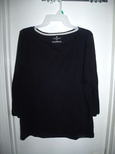 Talbots Woman Black 3/4 Sleeve Top Plus Size 1X Pima Cotton #Talbots #Blouse