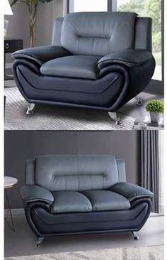 Norton Co. Us Livings Gray/Black Faux Leather 2 PC Modern Living Room Sofa set