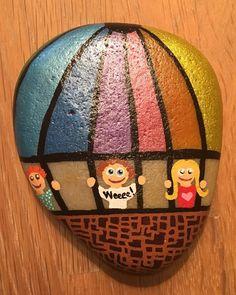 Hot air balloon painted rock