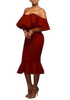 Tsuretobe 2017 Fashion Sexy Mermaid Ruffles Elegant Dress Women Slim Off Shoulder Bodycon Dress Backless Club Party Dresses Casual Summer Dresses, Sexy Dresses, Fashion Dresses, Dress Casual, Strapless Dress, Bodycon Dress, Peplum, Sheath Dress, Mermaid Midi Dress