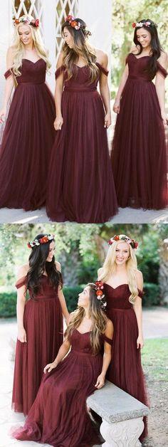 burgundy bridesmaid dress, off shoulder long bridesmaid dress