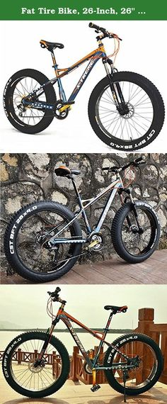 """Fat Tire Bike, 26-Inch, 26"""" Wheel, 21-Speed, Aluminum Frame, Fat Bicycle, Snow Bike. 26 inch 4.0 fat tire, with its 4"""" wide tires support your ride to rip through snow, dirt, sand, and other rough terrain that might perhaps be in your way. Disc brakes are a must on these monstrous ride for a perfect smooth controlled stop."""