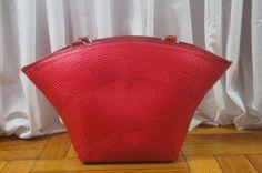 Vintage Apple Red Wicker Straw Basket springtime by AnEyeforJulz, $25.00