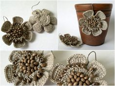 Crochet jewellery using linen thread and wooden pearls by talented Ksenianik on Livejournal