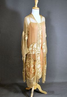 Art Deco Dinner Dress or Tea Gown: ca. 1920's, silk georgette, chiffon crepe, Point de Venice needle lace, silk-covered weights or on the interior at CF on the jacket.