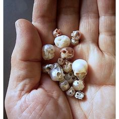 Skulls carved from pearls