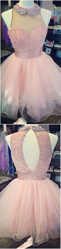 Pink Homecoming Dress,High Neck Homecoming Dress,Lace Appliques Prom Dress,Sweetheart Party Dress,Tulle Prom Dress,Homecoming Dress Backless,A Line Prom Dress,Homecoming Dress for Juniors,Homecoming Dress 2016