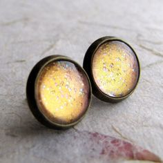 Shimmering Peach 10mm Antiqued Brass Post by AshleySpatula on Etsy, $14.00