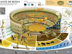 El coliseo romano en infografía.
