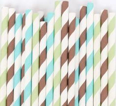 Paper Straws set of 30 BROWN BLUE & GREEN Stripes,  Carnival Straws, Wedding, Boy Birthday Party, Baby Shower, Party favors on Etsy, $4.05